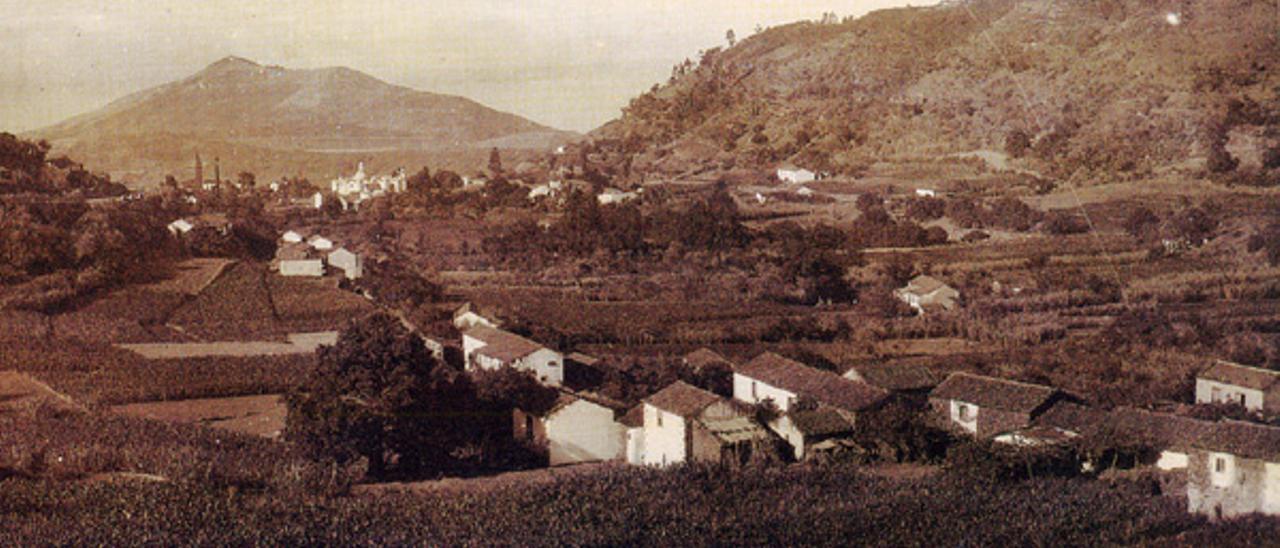 Panorámica del municipio grancanario de Valleseco en los años treinta del siglo pasado.