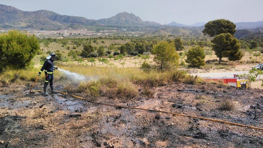 Los bomberos sofocan un conato de incendio forestal provocado por una quema agrícola en Abanilla