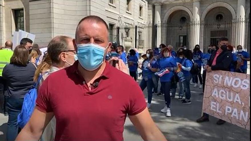 Pablo Ruz, en la protesta en favor del trasvase hoy en Madrid