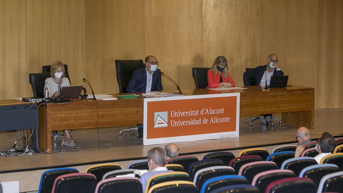 La secretaria general, el rector, la representante del Consejo Social y el vicerrector de Investigación en el Consejo de Gobierno