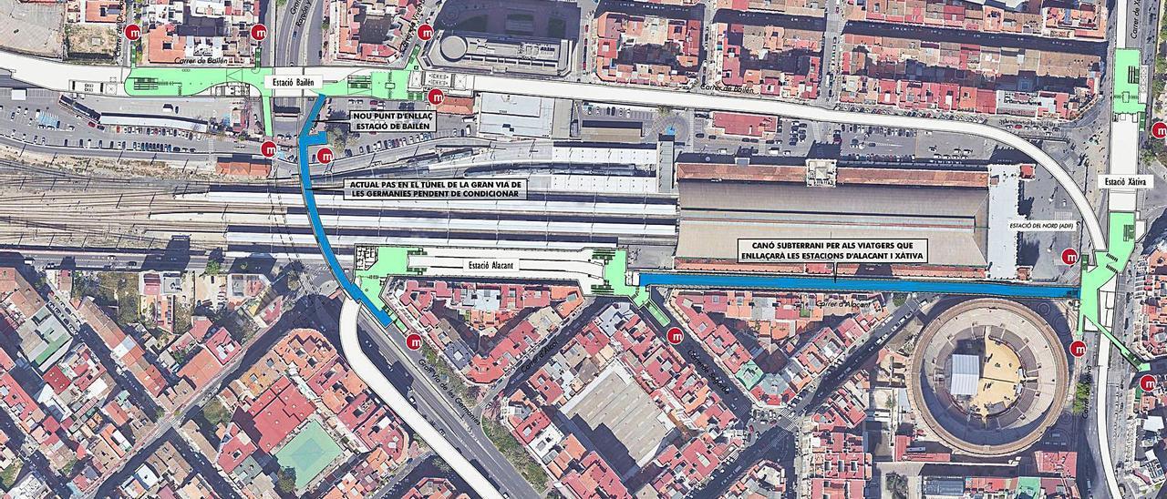 Esquema del cañón peatonal que se construirá entre las estaciones de las calles Alicante y Xàtiva a partir de finales de 2022.   | CPTOPM