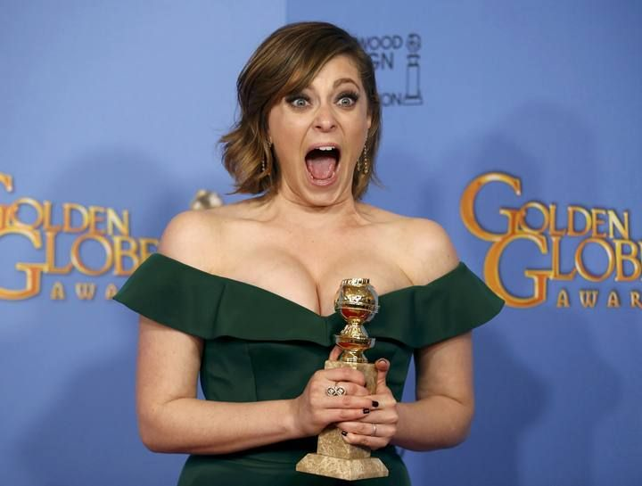 "Rachel Bloom poses with her award for Best Performance by an Actress in a Television Series - Musical or Comedy for her role in ""Crazy Ex-Girlfriend"" backstage at the 73rd Golden Globe Awards in Beverly Hills"