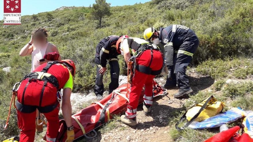 Rescatan a una mujer en helicóptero en Algimia de Almonacid