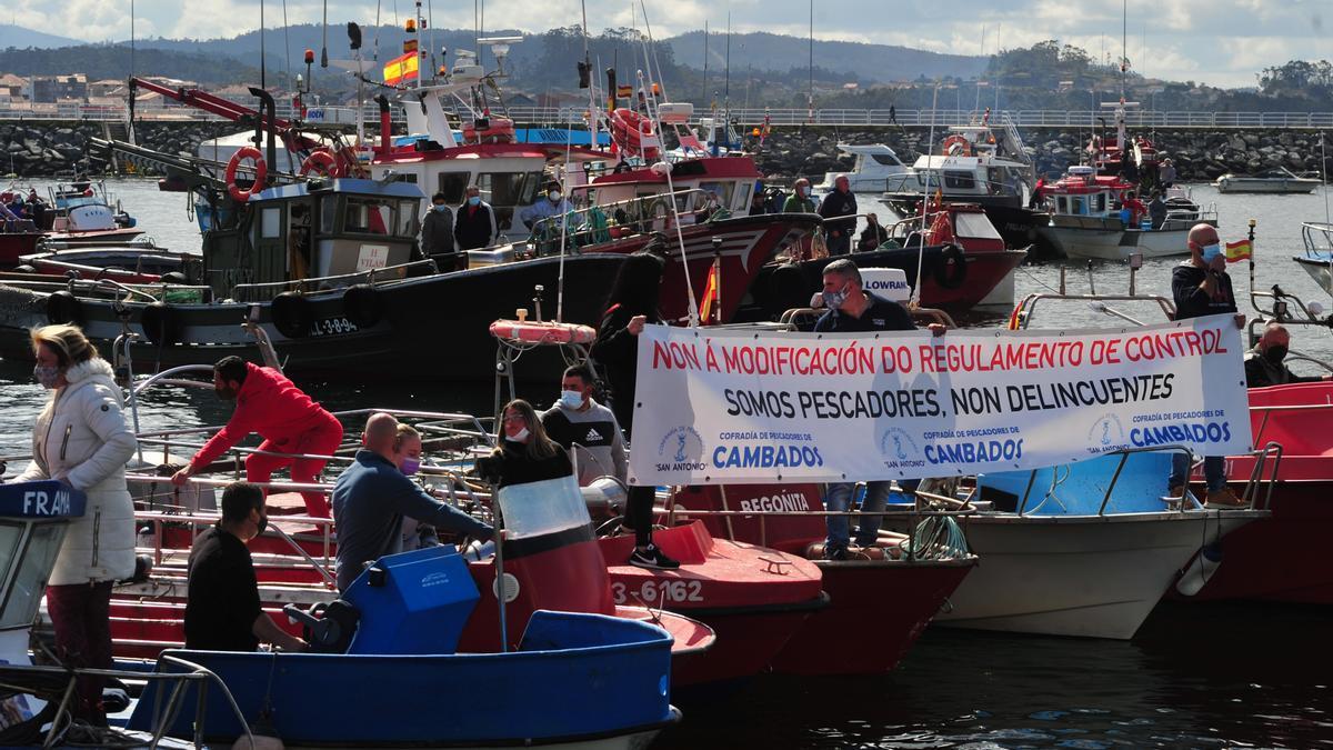 La protesta desarrollada en Cambados.