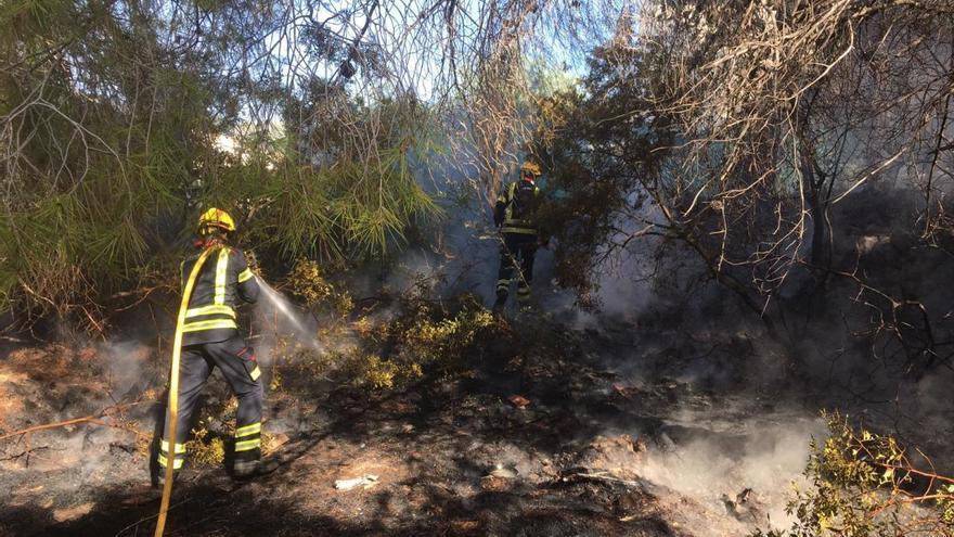 Una barbacoa origina un incendio en una pinada de Moraira