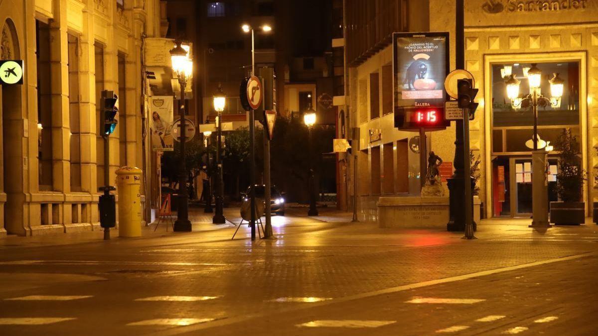 Imagen del centro de Castelló en el periodo de toque de queda en la capital de la Plana