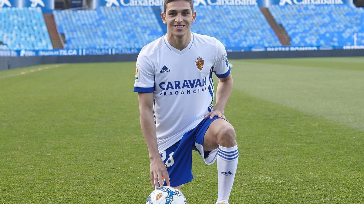 Sanabria, en su presentación, en enero, con el Real Zaragoza.