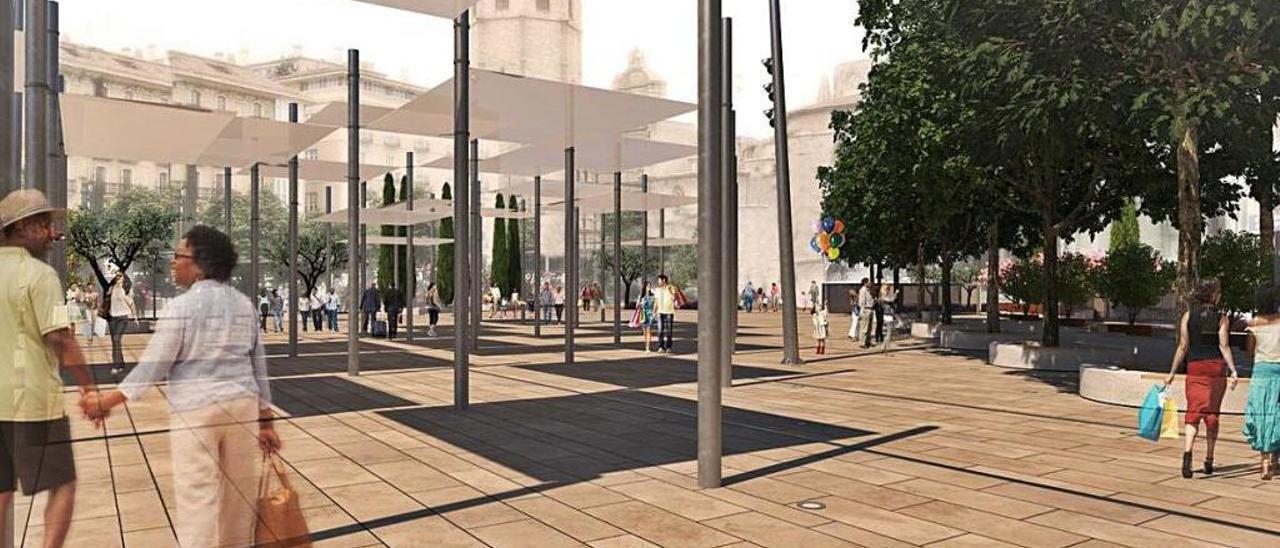 Recreación de cómo será la remodelación de la plaza de la Reina tras su esperada reforma total.