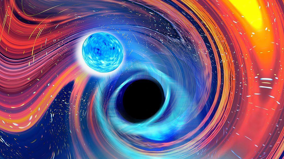 Imagen artística inspirada en un evento de fusión de un agujero negro negro y una estrella de neutrones Carl Knox, OzGrav, Universidad de Swinburne