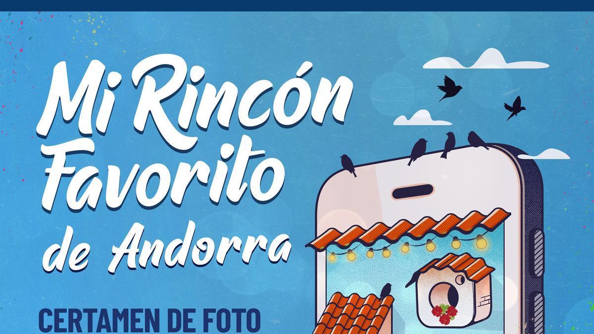 """Cartel promocional del certamen de fotografía convocado en Andorra para mostrar el """"rincón favorito"""" de la localidad a través de Instagram."""