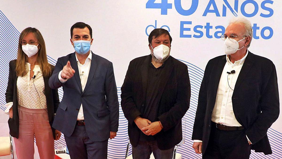 Paloma Castro, Gonazalo Caballero, toFrancisco Caamaño y Ramón Maiz, ayer. |   // XOÁN ÁLVAREZ