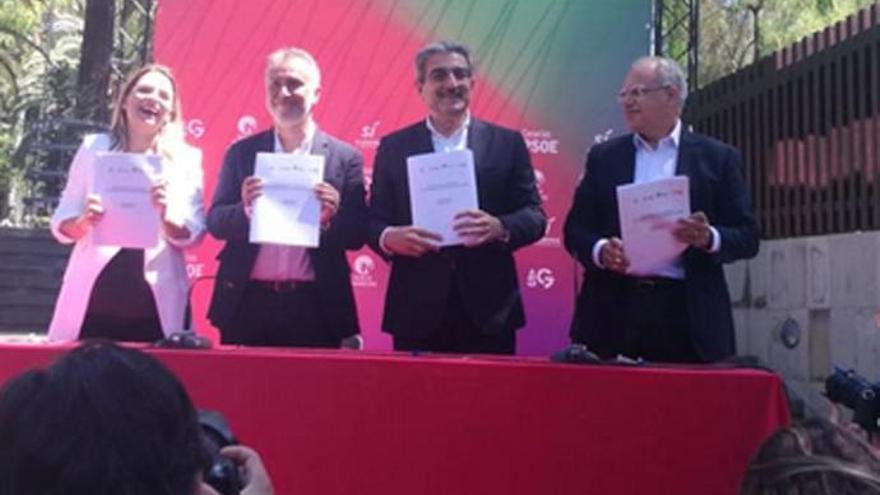 PSOE, NC, Podemos y ASG firman el 'Pacto de las Flores' en Canarias