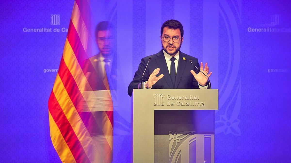 Pere Aragonès en roda de premsa després de l'últim Consell Executiu del curs polític | MARTA PÉREZ