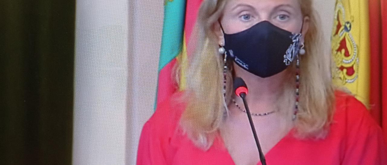 Amparo Marco, alcaldesa de Castelló, en el pleno de este jueves, durante su intervención.