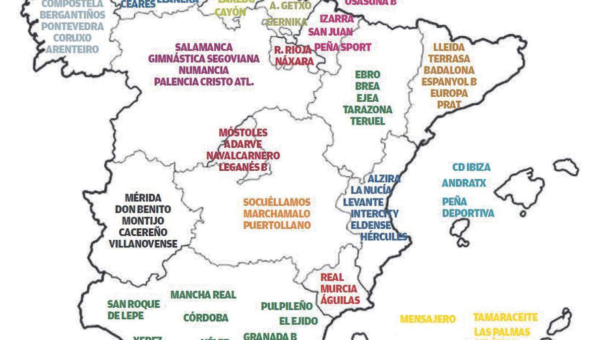 Mapa de los equipos ya clasificados para la Segunda RFEF