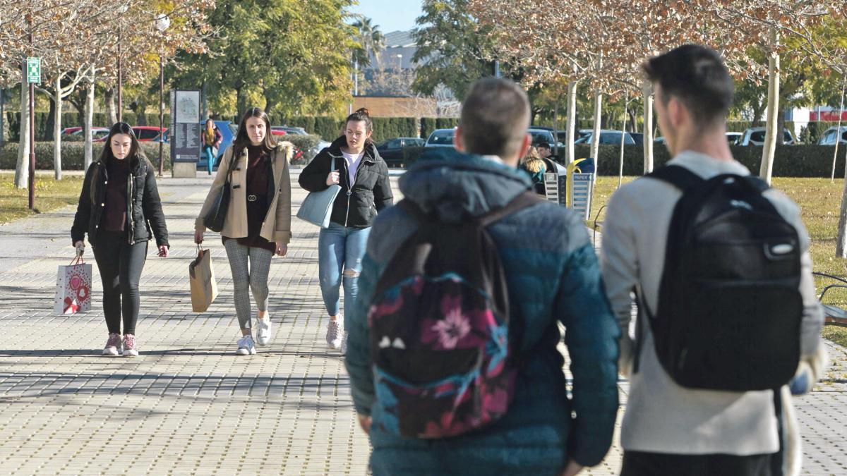 Estudiantes en el campus de la UA, el pasado invierno.