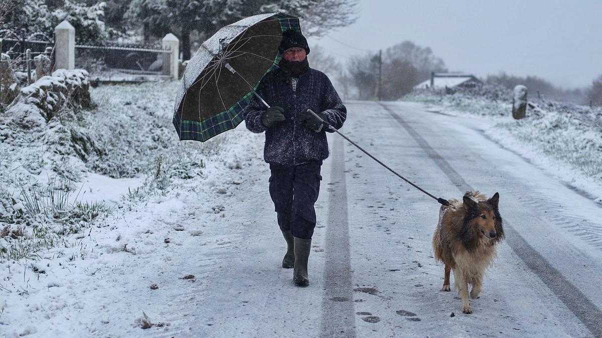 Una vecina de Montederramo en Ourense paseando con su perro. |    // BRAIS LORENZO