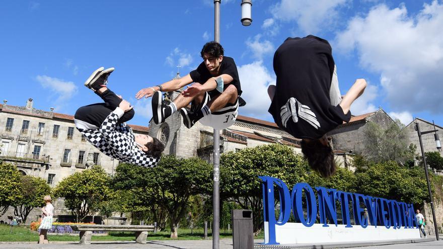 Los acróbatas del parkour buscan su sitio en Pontevedra