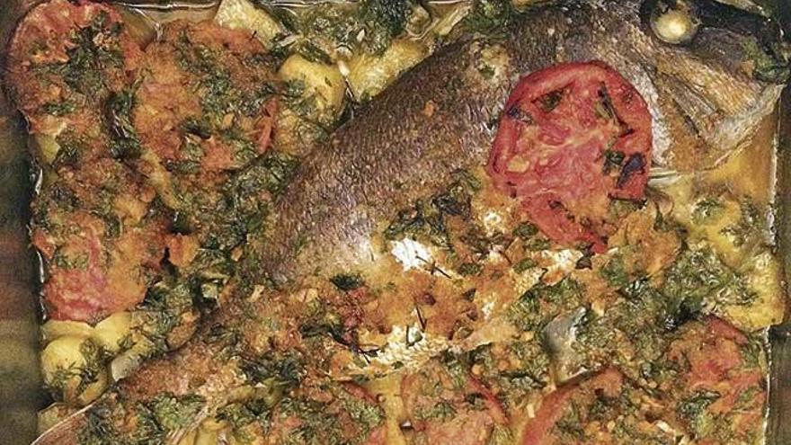 Peix al forn amb verdura
