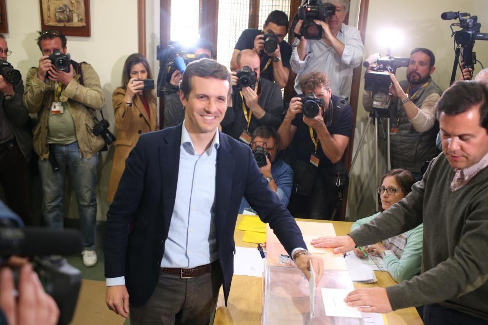 28 April 2019, Spain, Madrid: Pablo Casado, ...