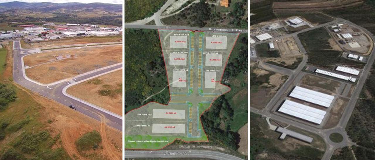 De izquierda a derecha: futuro parque industrial de Cantarias, en Bragança; nueva área industrial de Baiao y nueva área industrial de Oliveira de Azeméis