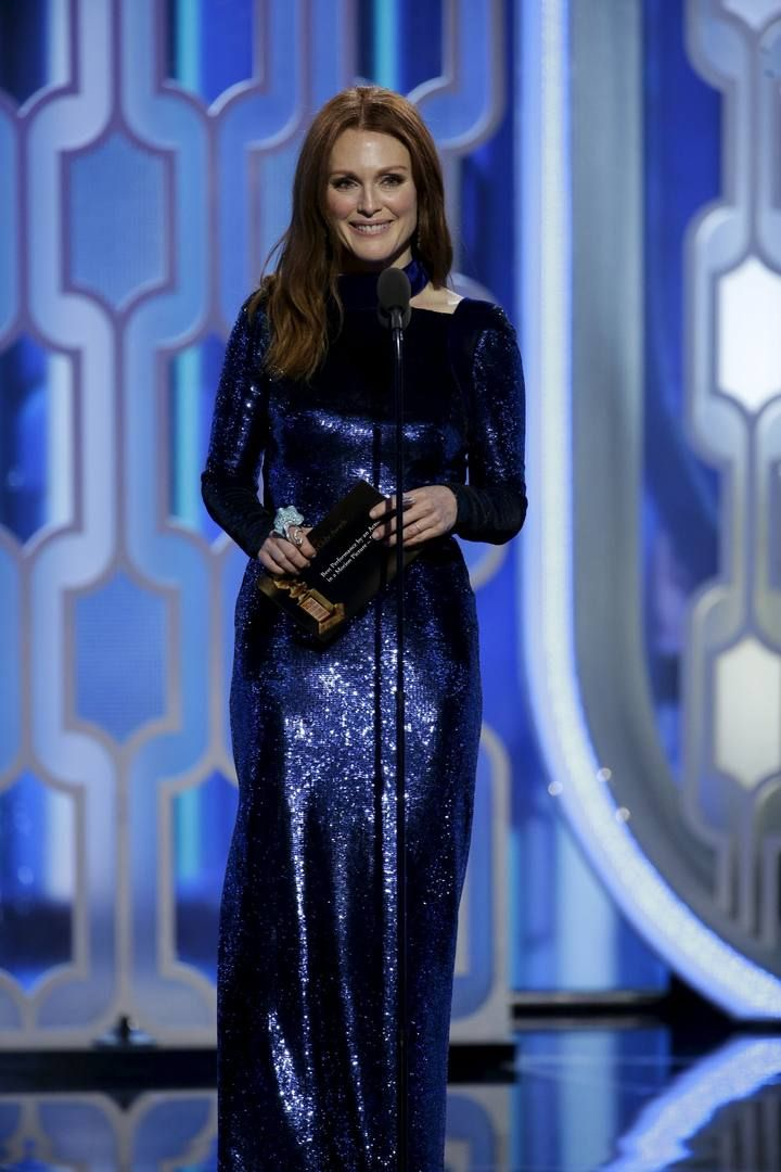 Handout photo of Julianne Moore presenting an award at the 73rd Golden Globe Awards in Beverly Hills