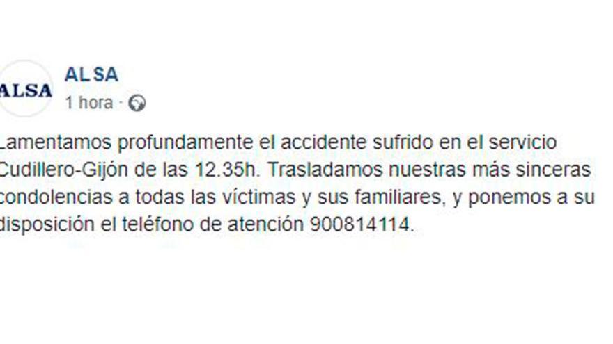 El mensaje de Alsa a los afectados por el grave accidente de autobús en Avilés