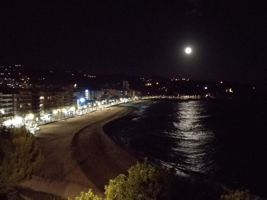 Lluna plena.  Sempre és bonic contemplar l'espectacularitat de la lluna, i encara més quan és ben plena i es reflecteix a l'aigua de la mar, com en la imatge que ens envia el nostre lector.