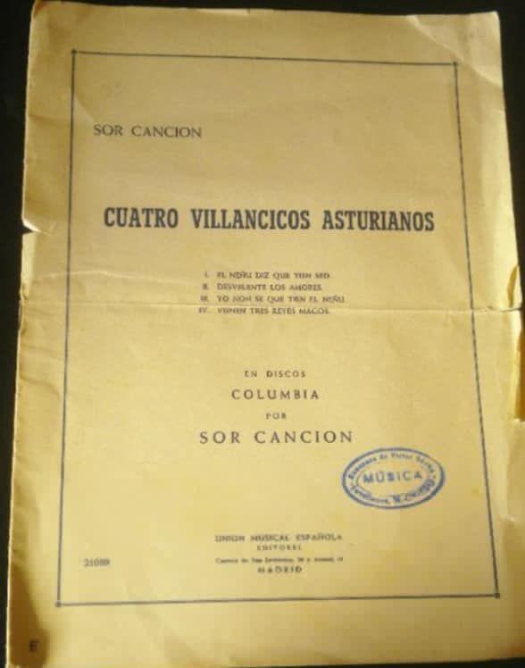 """Archivo musical de """"Sor Canción""""."""