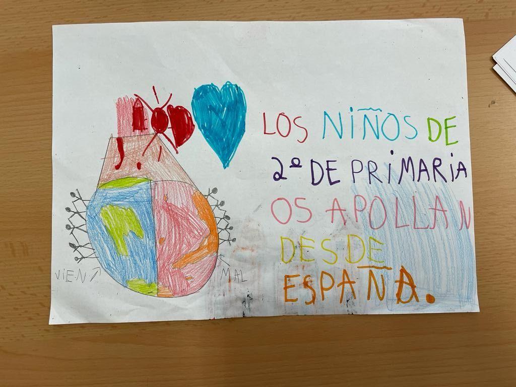 Alumnat del CEIP José Sotó Micó de València mostren la seua solidaritat amb la Palma