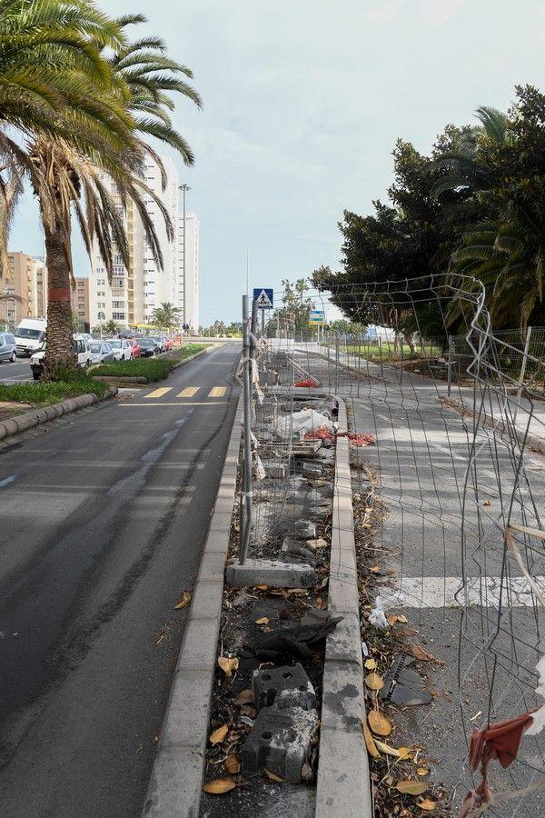 Tramo parado de la Metroguagua en la calle Alicante