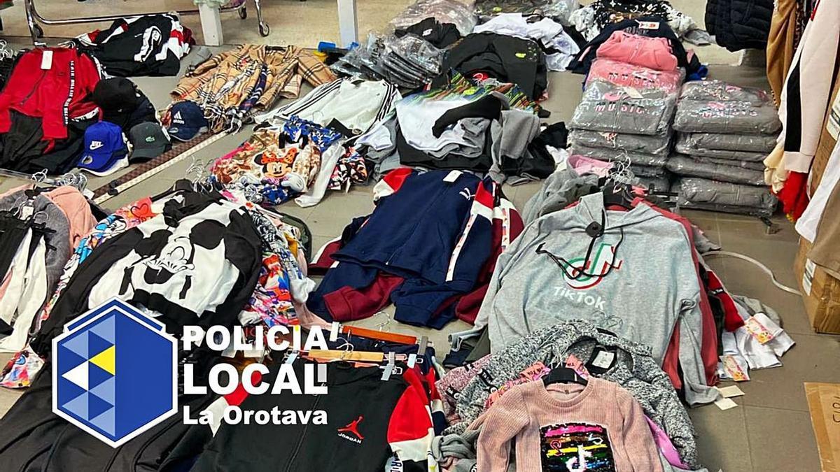 Piezas de ropa falsificada intervenidas en los municipios de La Orotava y Güímar.