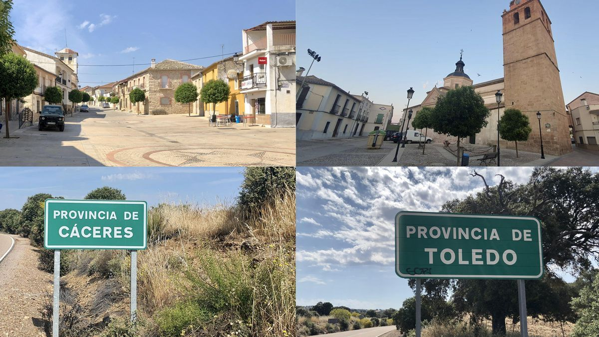 Villar del Pedroso, de la provincia de Cáceres a la izquierda. El Puente del Arzobispo, de la provincia de Toledo, a la derecha.