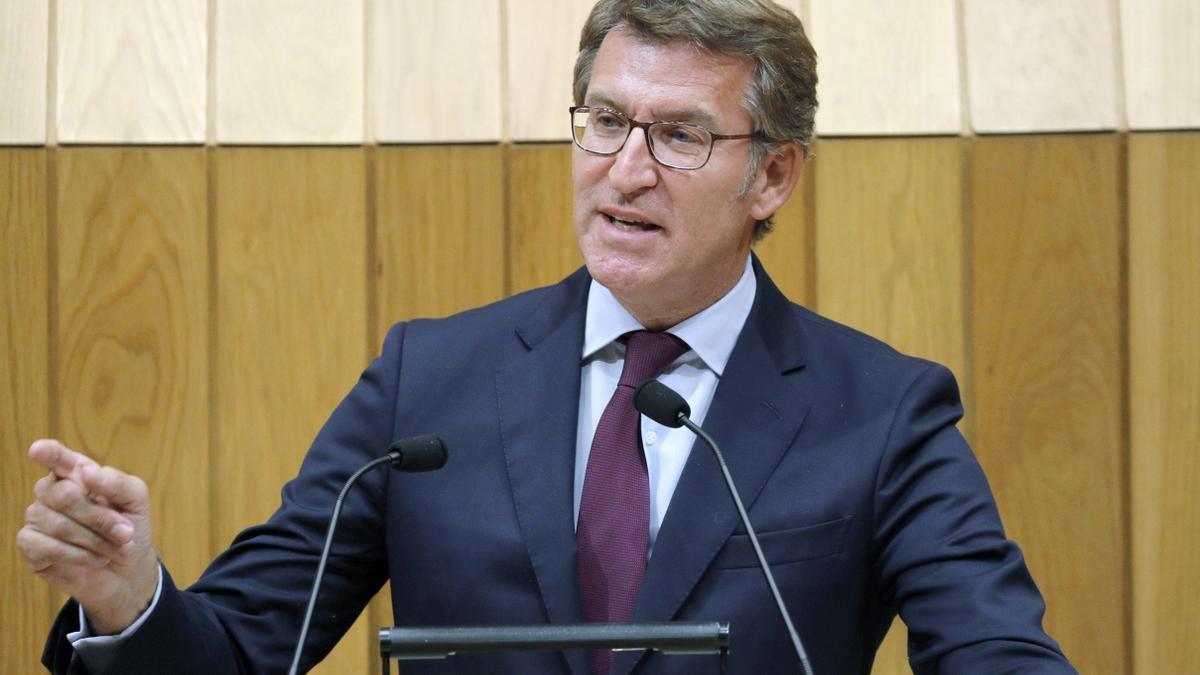 Alberto Núñez Feijóo, en el Parlamento de Galicia.