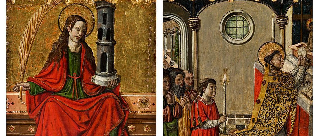 «Santa Bárbara» y «Misa de San Gregorio», las dos piezas vendidas en subasta.   ANSORENA