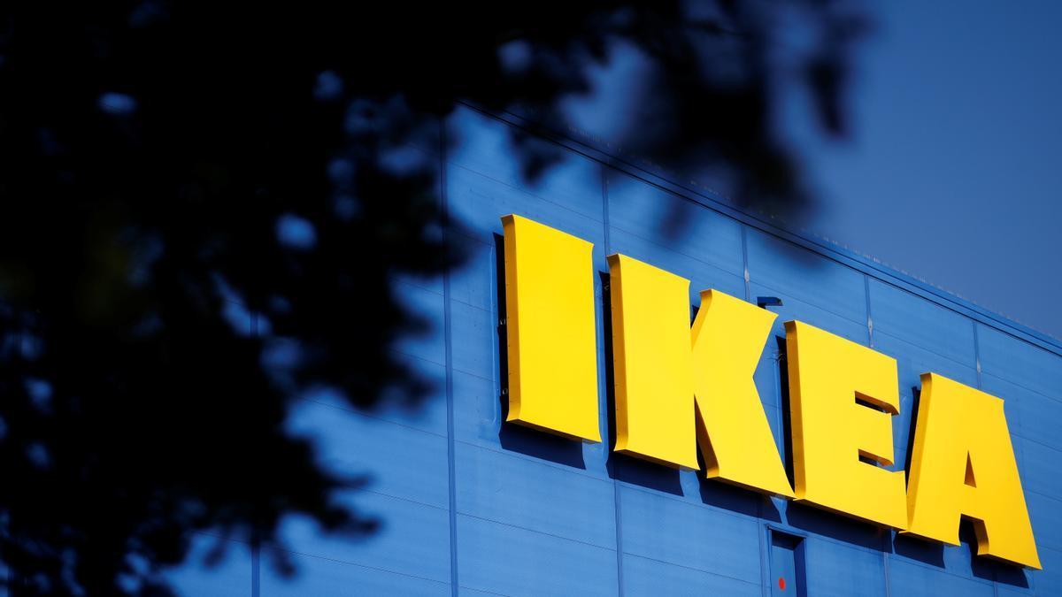 The company's logo is seen outside of an IKEA Group store in Saint-Herblain near Nantes