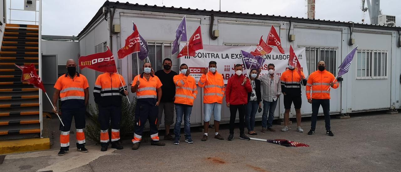 Trabajadores en plena protesta