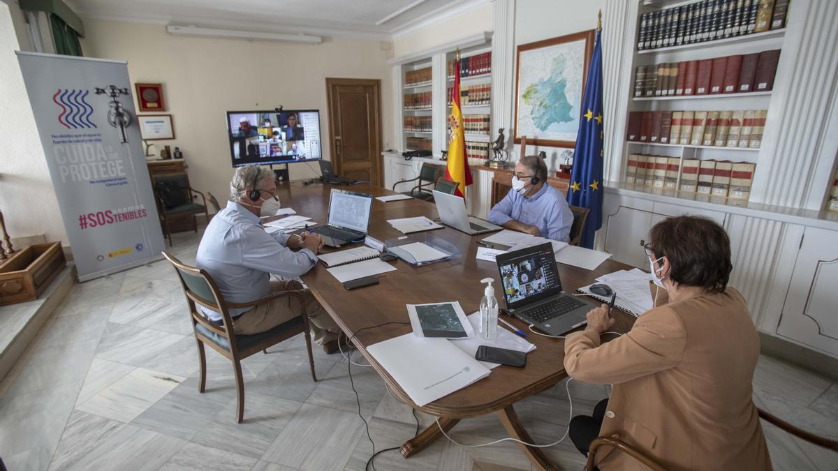Un momento de la reunión telemática celebrada desde Cartagena