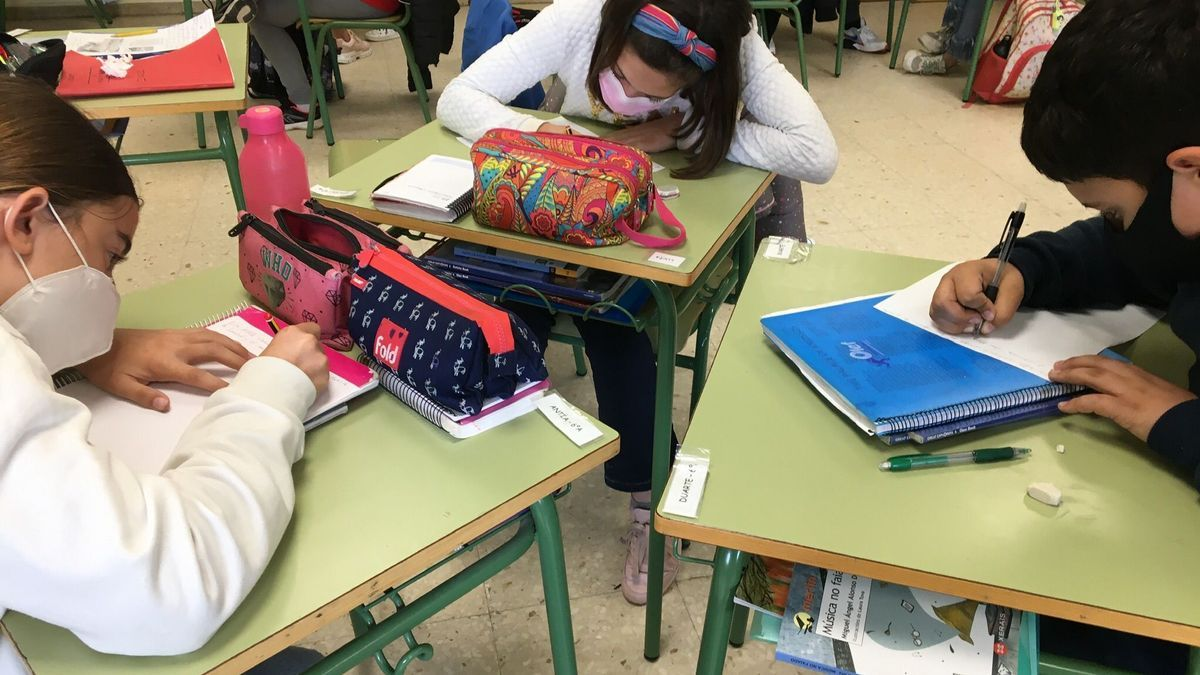 Alumnado del CEIP Plurilingüe Pena de Francia traduciendo artículos.