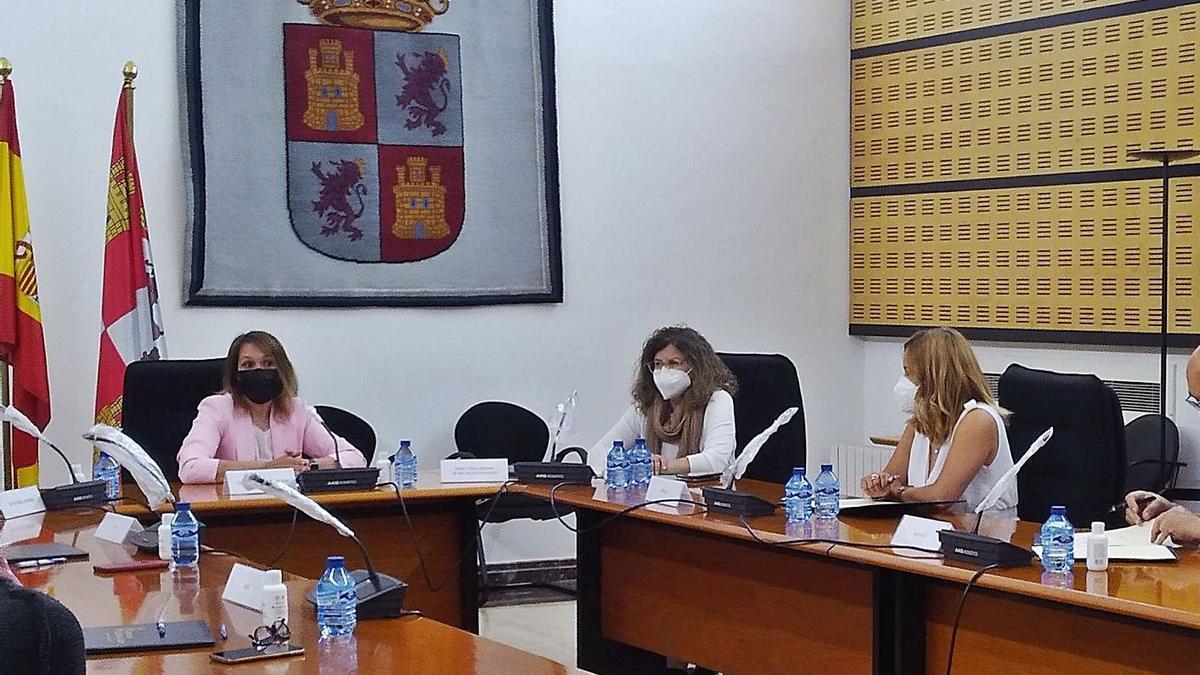 La consejera de Educación, Rocio Lucas, junto a los representantes de los sindicatos ayer. | Ical