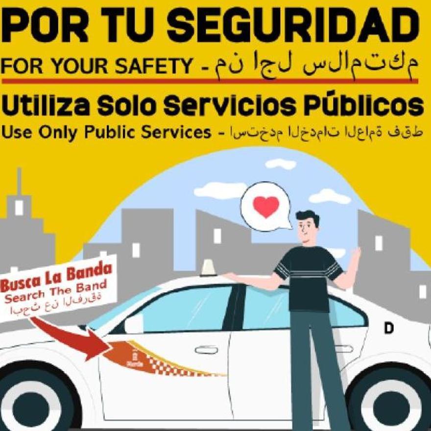 Cartel que colgará los taxistas en la Estación de Autobuses de Murcia,