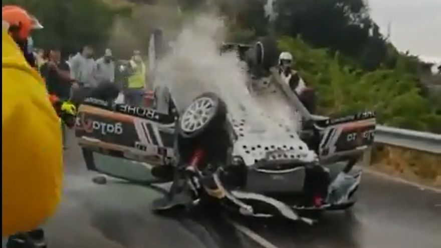 Aparatoso accidente en el Rally Isla de Gran Canaria