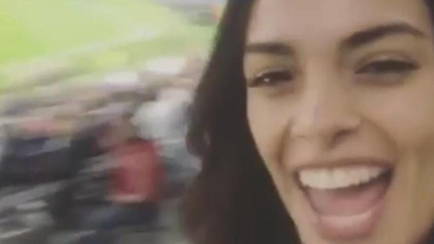 La alegría de la canaria Joana Sanz tras clasificarse la Juve