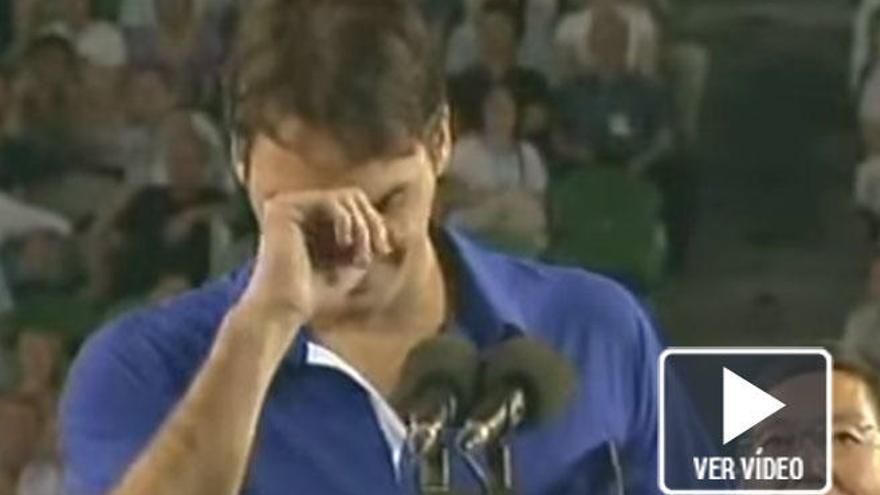 Las lágrimas de Federer hace ocho años al perder ante Nadal