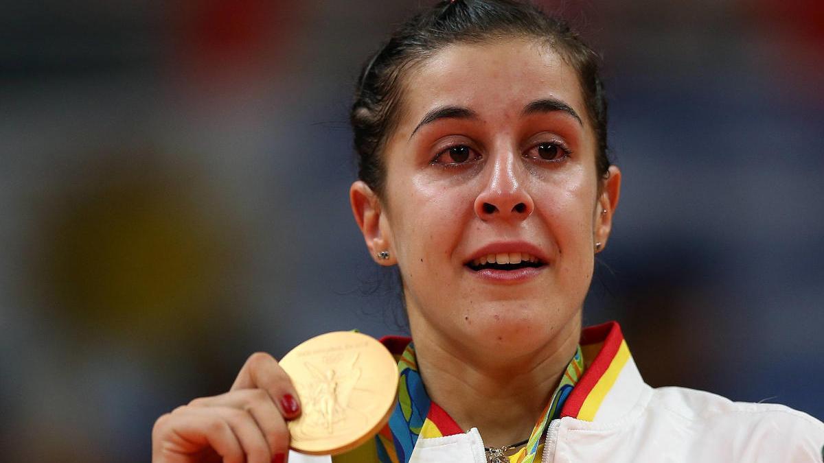 Carolina Marín celebra el oro en los Juegos Olímpicos Río 2016.