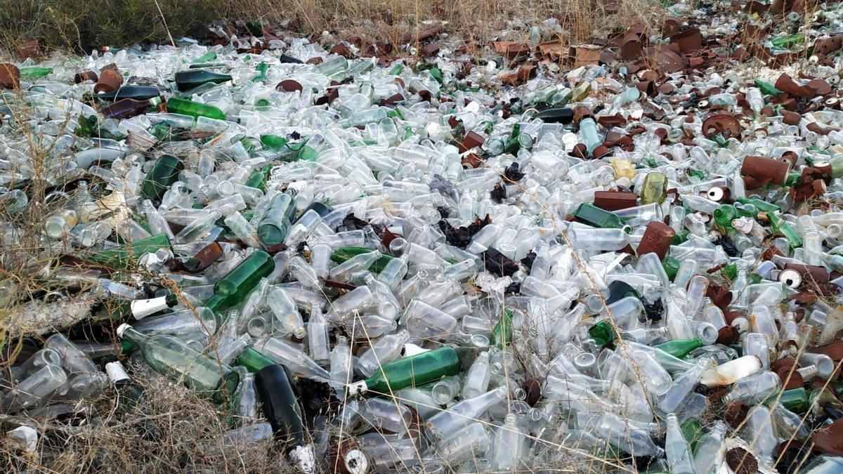 Vertedero de botellas aparecido en Torregamones