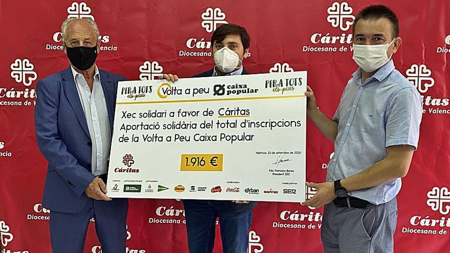 La Volta a Peu València Caixa Popular dona 1.916€ a Càritas