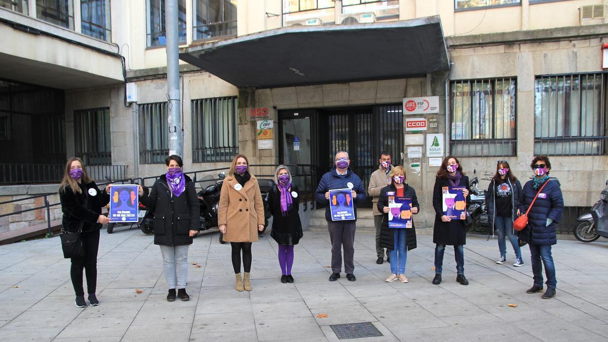 Miembros de CC OO y UGT, contra la violencia de género