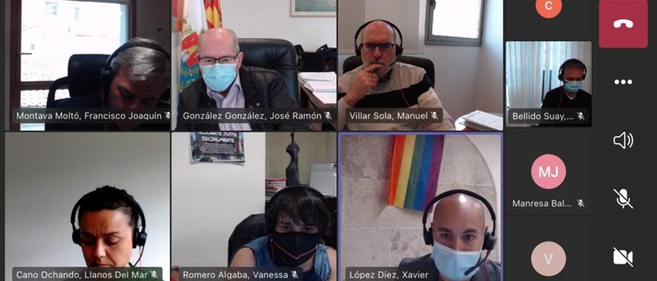Un instante de la comisión de limpieza, que ha vuelto a celebrarse de manera telemática
