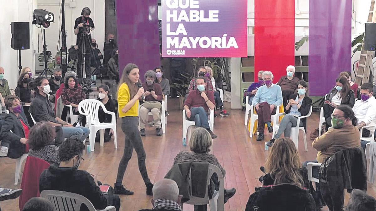 Lucía Muñoz, participó ayer en un acto de campaña de Pablo Iglesias para las elecciones en Madrid.